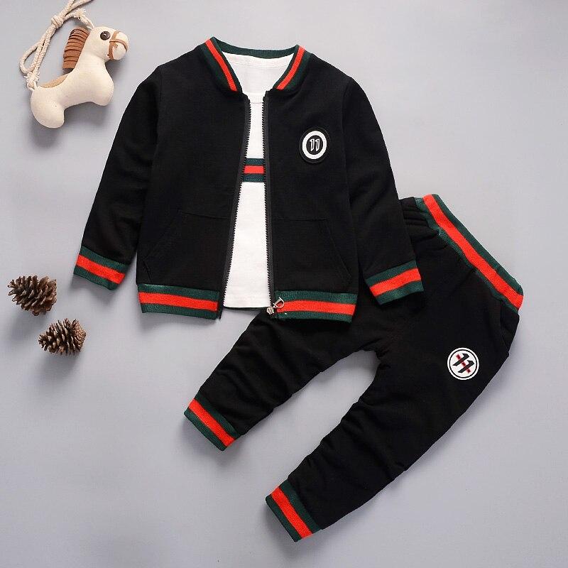 BibiCola new 2018 children clothing suit cotton products for boys 3pcs set spring autumn kids sets baby clothes boys tracksuit