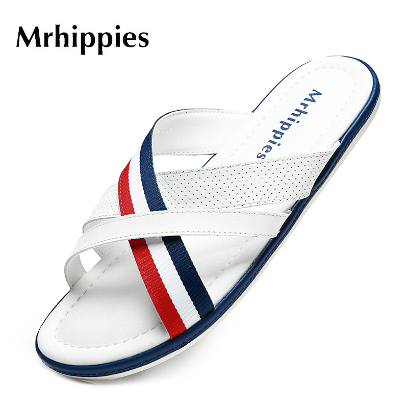 MRHIPPIES Genuine Leather Sandals Slippers Summer Men High Quality Fashion 2017 Beach Shoes Comfortable Leather Zapatos Hombre