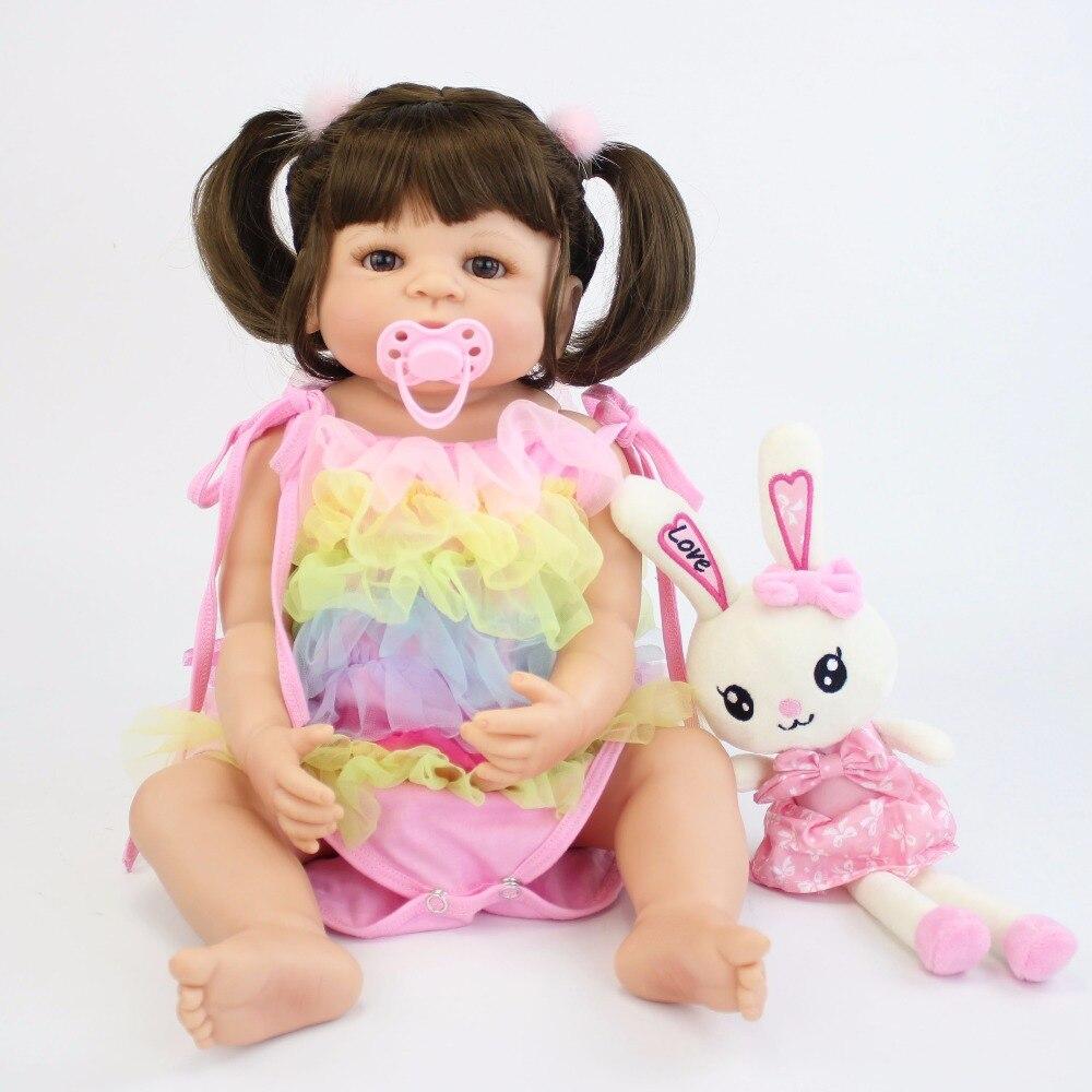 57 cm Volle Silikon Vinyl Körper Reborn Babys Puppe Bebe Lebendig Lebensechte Baden Spielzeug Geburtstag Geschenk Prinzessin Kleinkind Puppe Mädchen boneca
