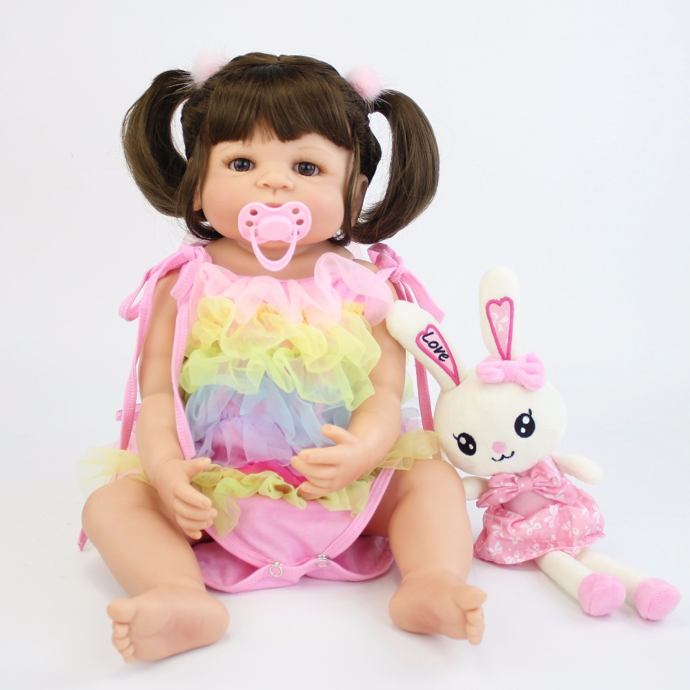 57CM Full SIlicone Vinyl Body Reborn Babies Doll Bebe Alive Lifelike Bathe Toys Birthday Gift Princess Toddler Doll Girl Boneca collectible washable full body vinyl silicone reborn toddler princess girl baby alive doll toys for children birthday gift dolls