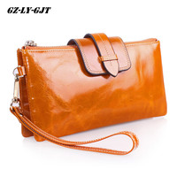 Cowhide Women Wallets Genuine Leather Shoulder Chain Clutch Bag Vintage Money Phone Wallet Female Coin Purse