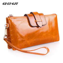 Cowhide Women Wallets Genuine Leather Shoulder Chain Clutch Bag Vintage Money Phone Wallet Female Coin Purse Cards Crossbody bag