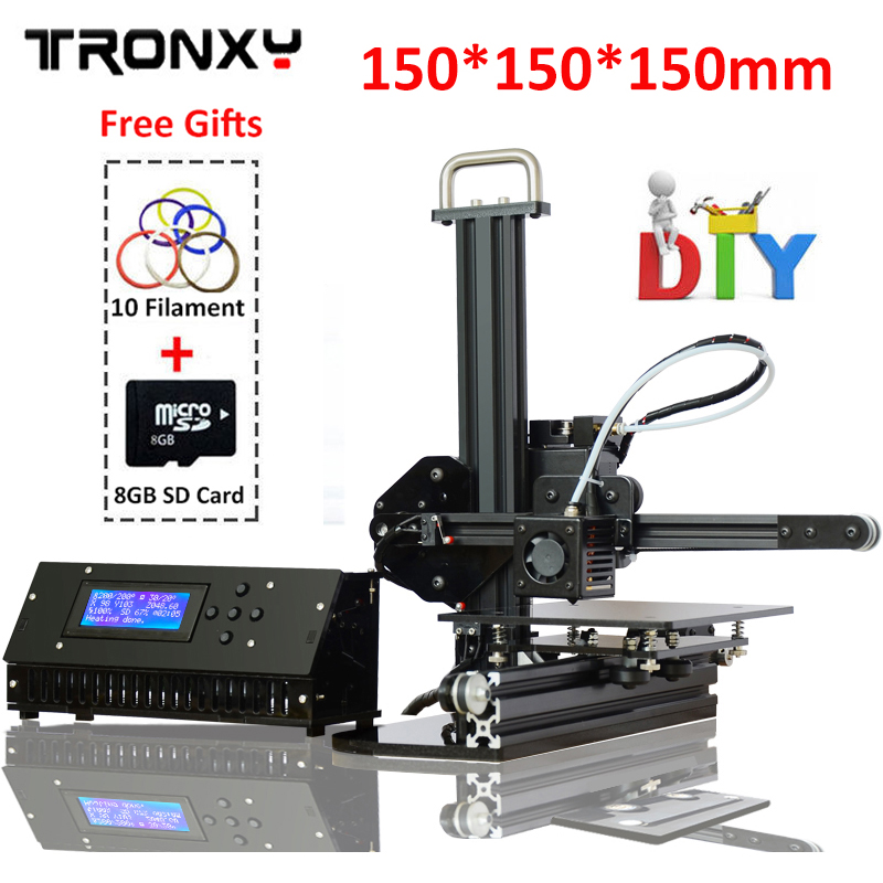 TRONXY 3d printer 150*150*150mm High-precision 3D printing Aluminium Structure Metal 3d printer diy Kit +10M Filament 8G SD Gift tronxy 3d printer all metal upgrade frame 3 3 lcd screen dual z axis extruder 3d printer diy kit 10m filament 8g sd card gift