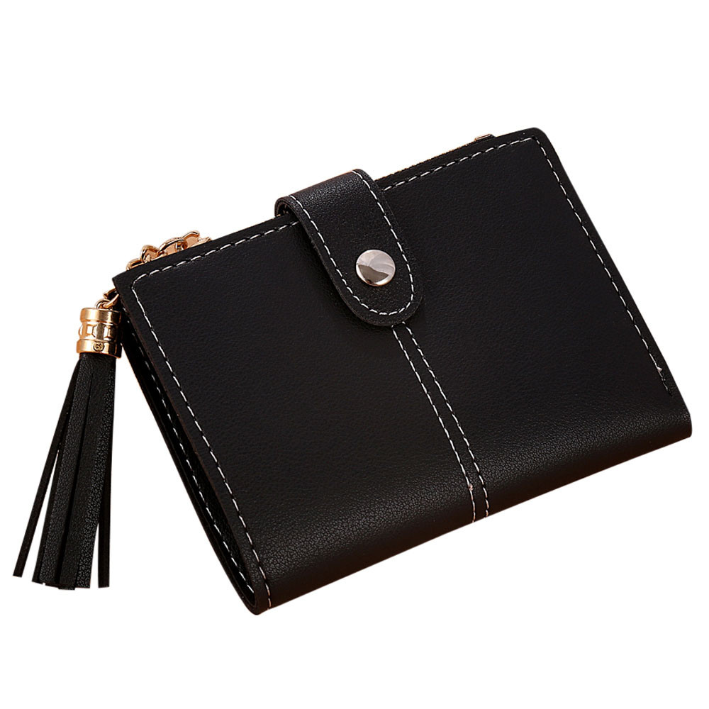 Women Simple Short Wallet Tassel Coin Purse Card Holders Handbag Credit Card ID Holder W ...