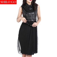2017 Spring Summer Fashion Women High Quality Sheepskin Lapel Sleeveless Stitching Double Layer Chiffon Sexy Leather