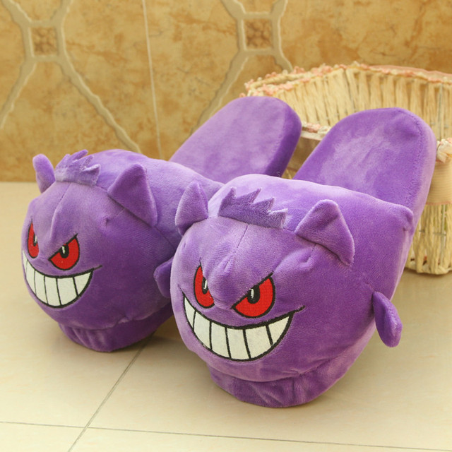 77b0a6b89d71 Cute Pocket Elf Gengar Plush Slippers Hot Anime Invierno Felpa Unisex Home  Indoor Warm Fluffy Cartoon