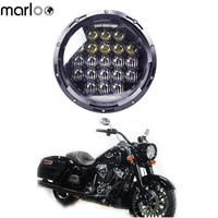 Marloo Motorcycle Harley Street Glide Road King Electra Glide Fatboy Softail Touring 126W 5D Lens 7 Inch Round LED Headlight
