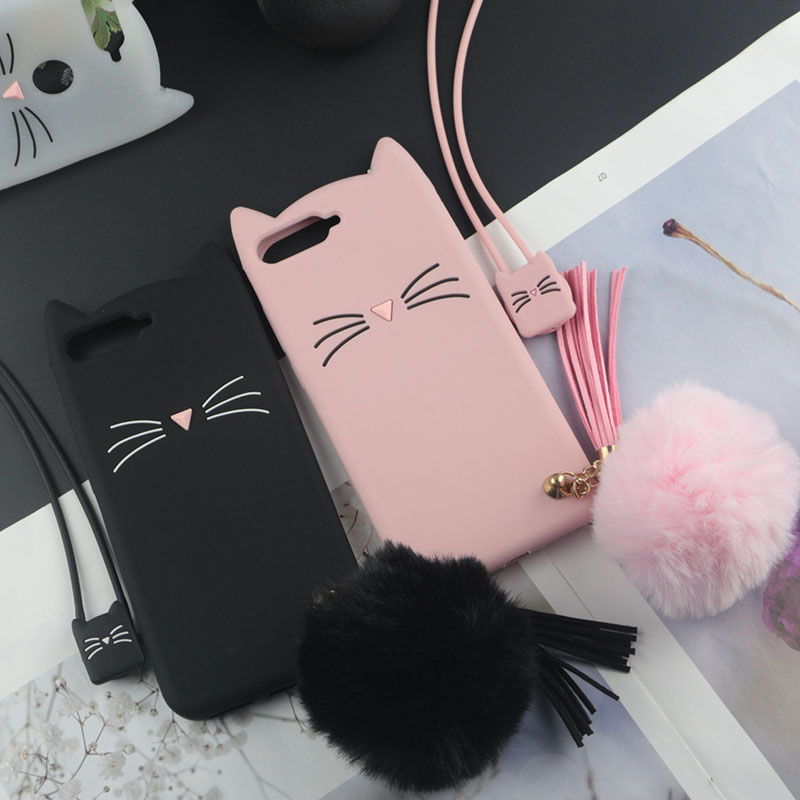 Cute 3D Cartoon Silicon Case for Oppo A3 A5 A3s Cases Japan Glitter Beard Cat Lovely Ears Phone Cover image