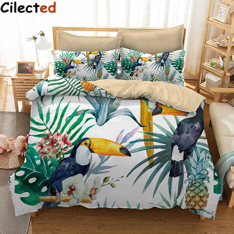 Cilected 3 Pcs Toucan And Pineapple Duvet Cover Set With Pillowcase Tropical Plant Bedding Set Soft