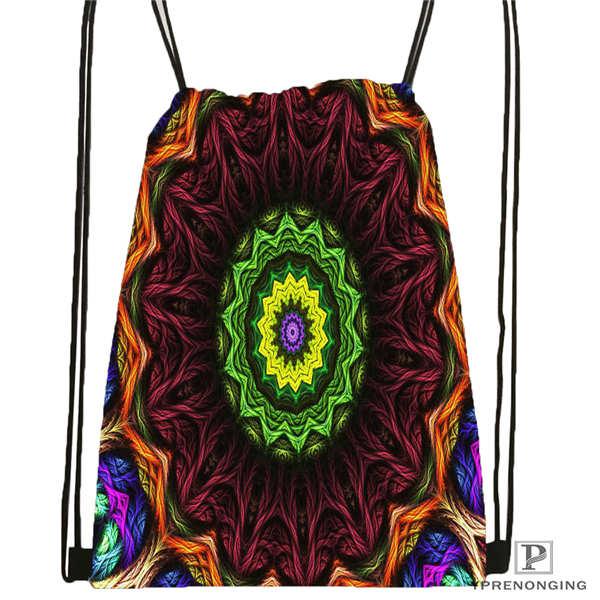 Custom Mandala El Laberinto De Rosa@4  Drawstring Backpack Bag Cute Daypack Kids Satchel (Black Back) 31x40cm#20180611-02-99