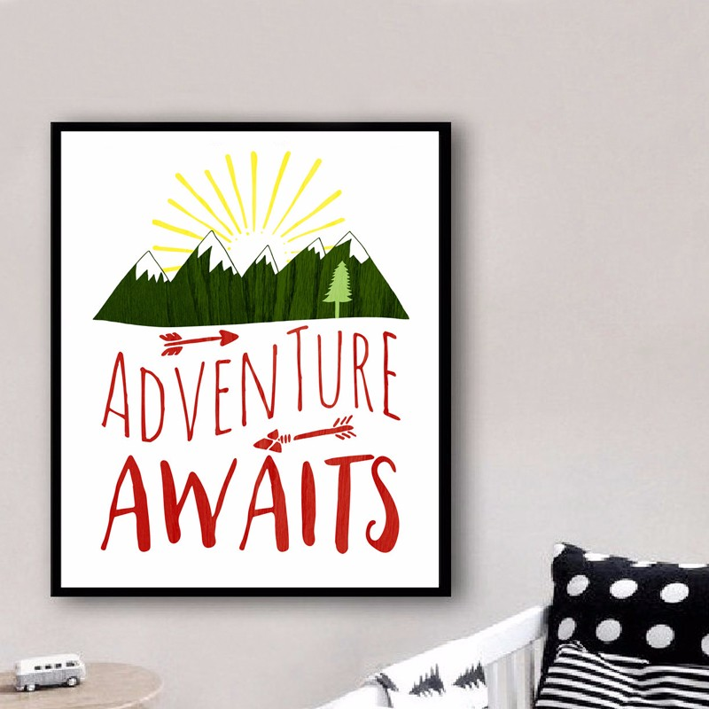 Adventure Awaits Printable Art Quote Mountains Camping Print Canvas