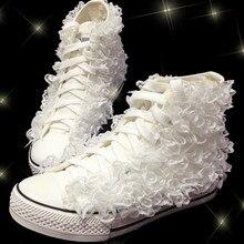 Vulcanized Canvas Shoes Lace Flower Appliques Women