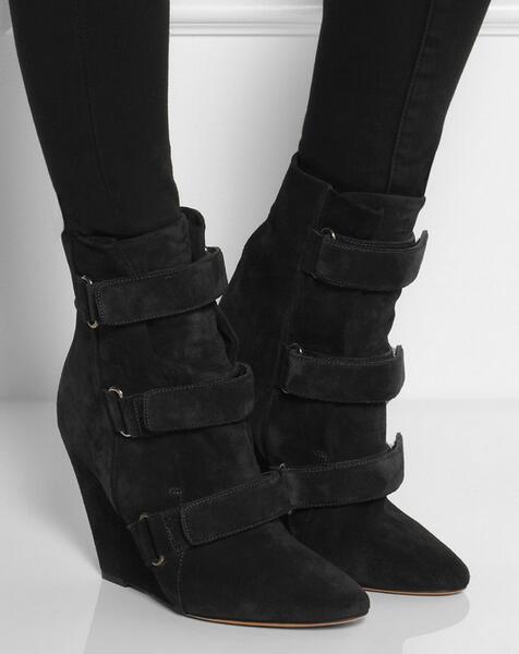 De Altura Invierno Gancho Botas Cuñas Zapatos Picture as Moda Toe Mujer Aumento Gamuza Picture Tobillo Otoño As xYTq0wBT