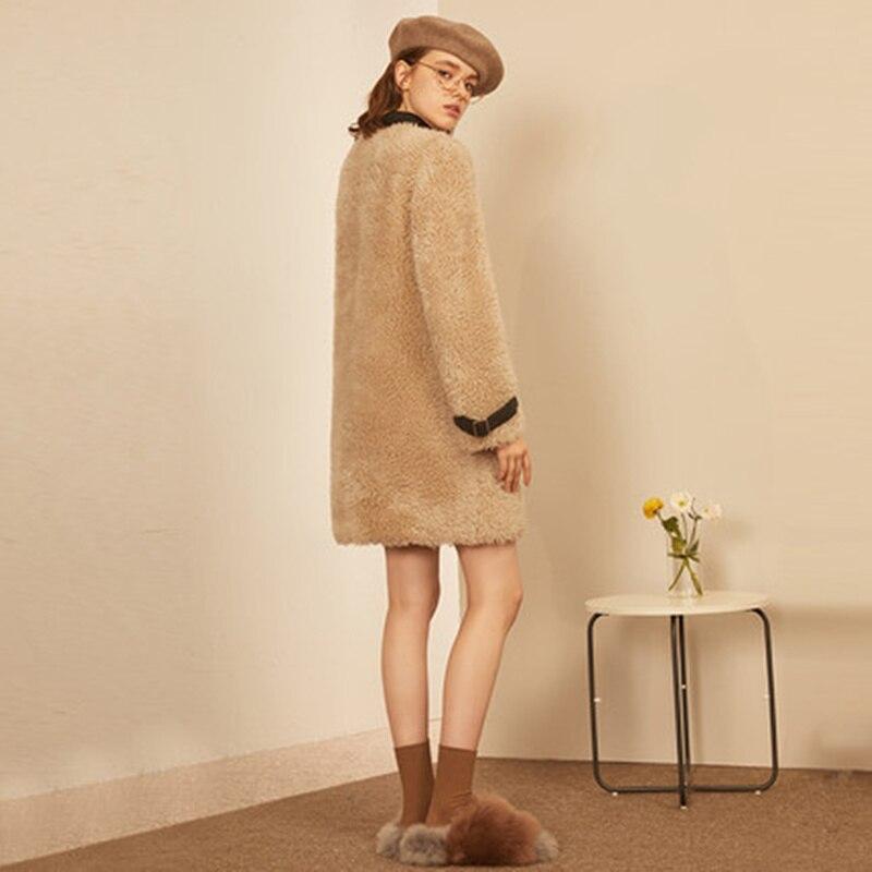 JAZYV одноцветное пальто из искусственного меха Для женщин 2018 г. зимние плотные теплые овечьей шерсти Тедди пальто и куртки Для женщин шубы dhl