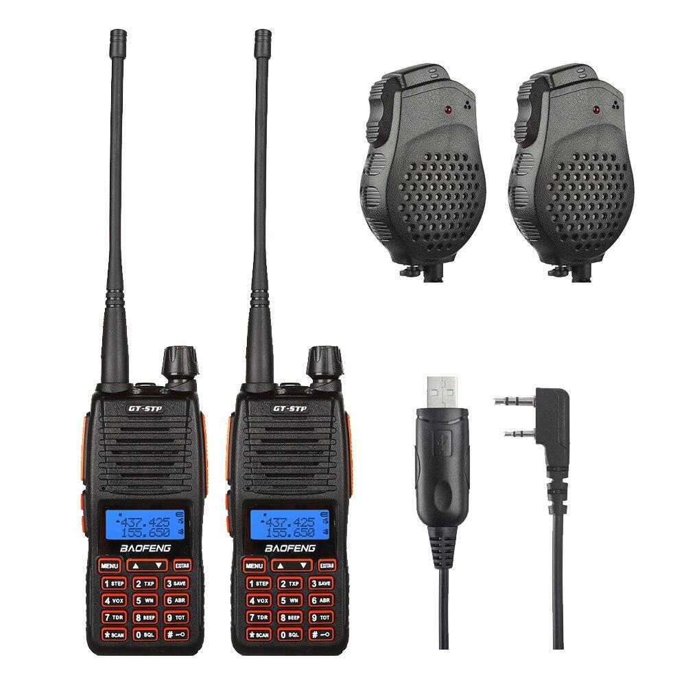 2 pcs Baofeng GT-5TP VHF/UHF Double Bande Jambon Talkie Walkie à Deux Voies Radio avec Double PTT Haut-Parleur Win10 pris en charge Câble 1/4/8 w