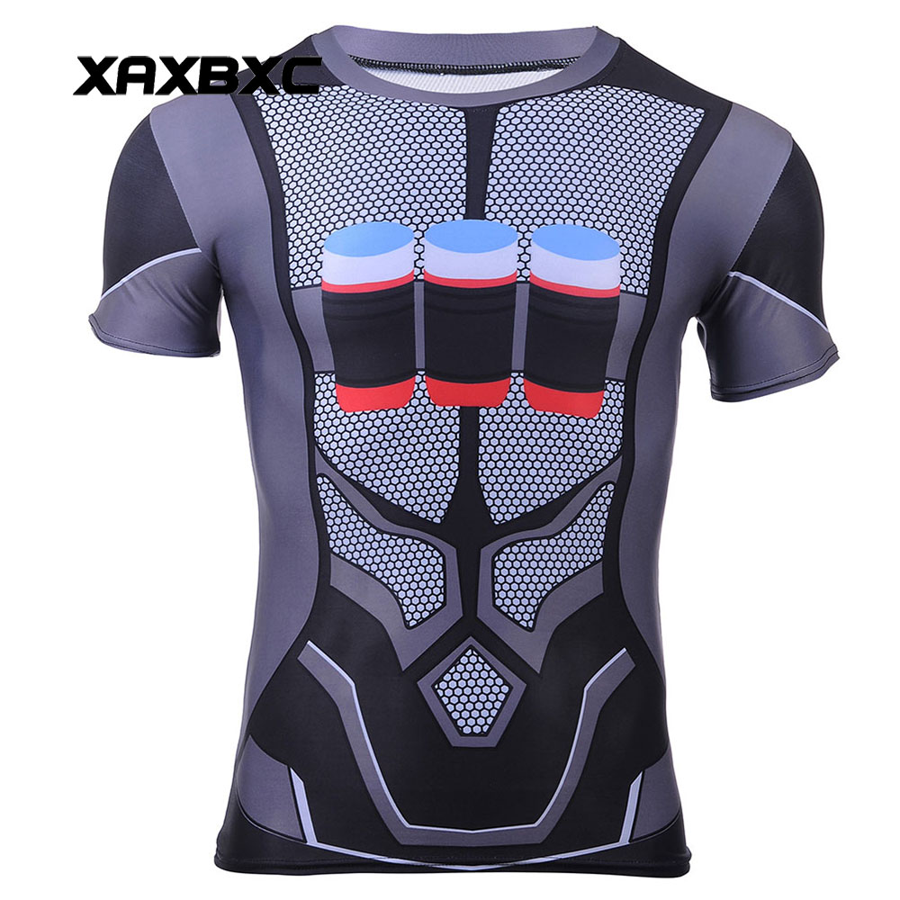 New 2017 Summer Harajuku Blizzard Game OW Reaper Deadpool Cosplay Prints Quick-dry Fitness Short Sleeve Mens T-shirt Men Tees