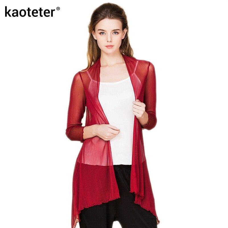 100% čisté hedvábné příze dámské šály blůzy dámské tenké průhledné oblečení ženy klimatizace košile pevná s dlouhým rukávem žena