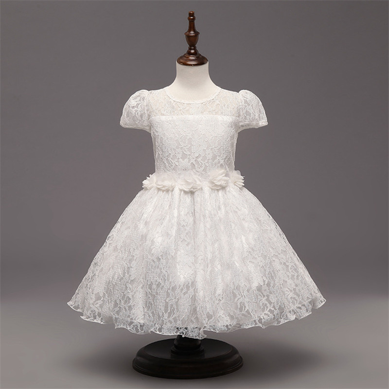 White First Communion Dresses For Girls 2018 Brand Lace Infant Toddler Pageant Flower Girl Dress for Weddings Birthday and Party white flower girl first communion dress mint pink red little girls dresses wedding first birthday outfit girl gold lace dress