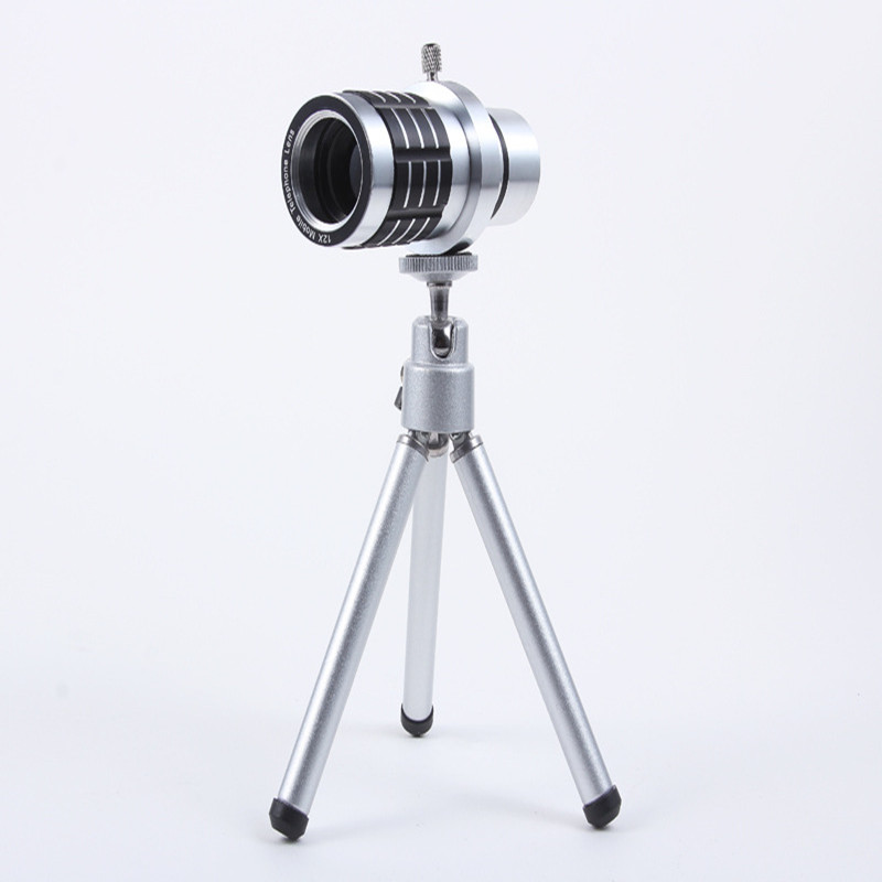 Universal 12X Zoom Phone Camera Lens Telephoto Telescope With Mount Clip Holder Mini Tripod Stand Lens For iPhone Smartphone 7