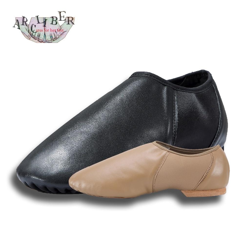 Jazz Παπούτσια Γυναικεία αγελάδα Δερμάτινα Μαύρα και Καφέ Μπαλέτο / Jazz Dance Παπούτσια Επαγγελματική για Γυναίκα Άνδρας Kid