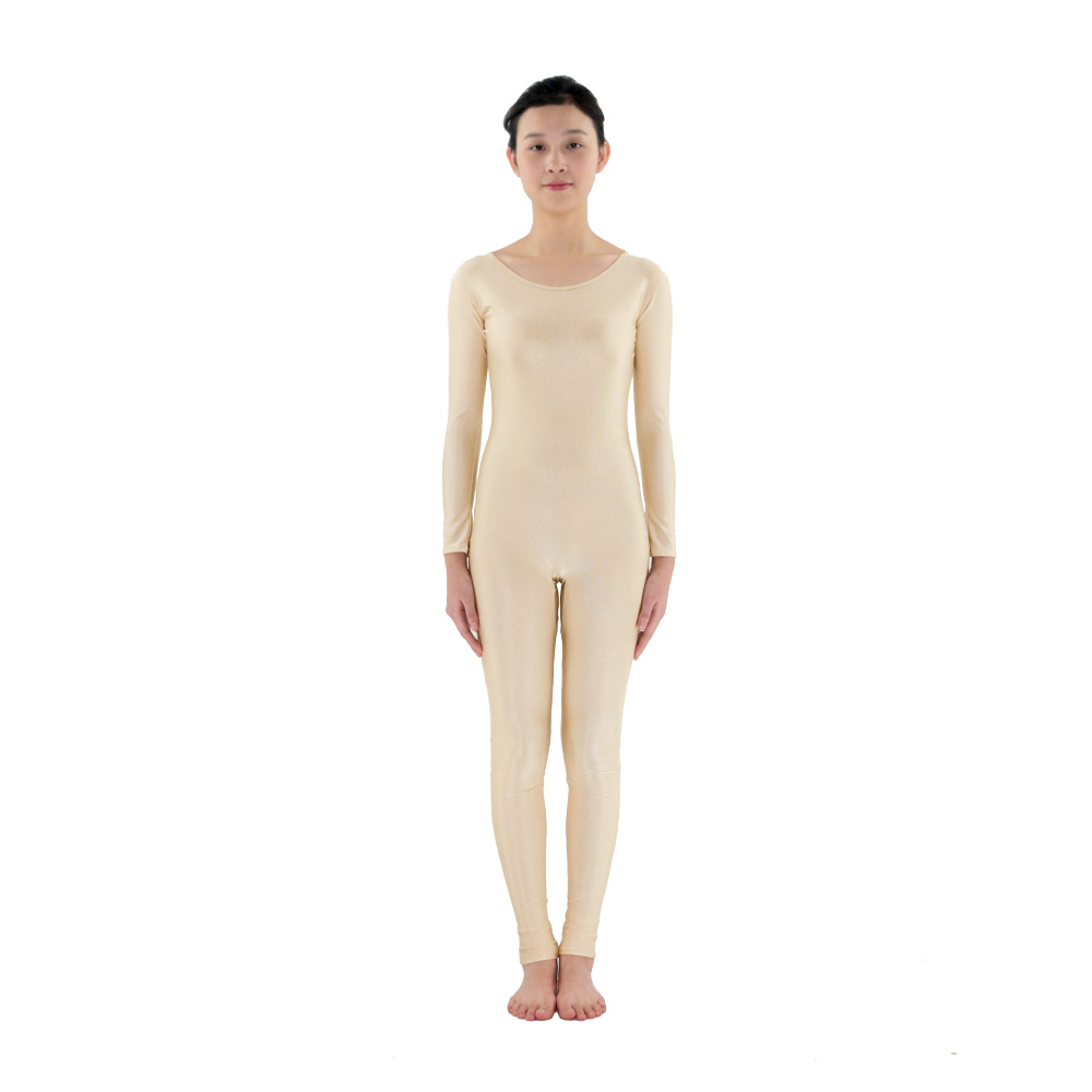 Adult Zentai Milky White Long Sleeve Gymnastics Unitard Dance Women's Zentai  Lycra Spandex Bodysuits  Ballet Unitard Dancewear