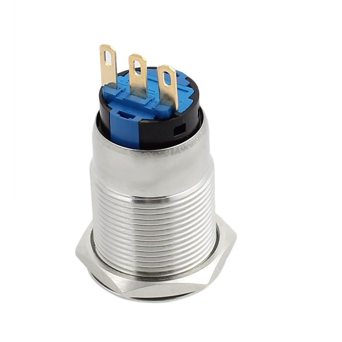Silver Tone waterproof Flat Round Latching Stainless Steel Push Button Switch with Light CE Recognized