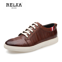 Купить с кэшбэком RELKA Luxury Men Casual Shoes Handmade Genuine Leather Round Toe Comfortable Heel Shoes Solid Lace-up Fashion Soft Men Shoes N21