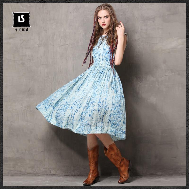 Sans 6524 Fleur Femininos Keer Tie 2018 Robe Slash Deux Imprimé Manches Robes Cou Vintage Femmes pcs Coton dye D'été oxBWQdCer