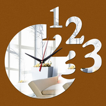 2016 new hot sale living room wall clock clocks horloge watch 3d acrylic mirror stickers horloge murale free shipping