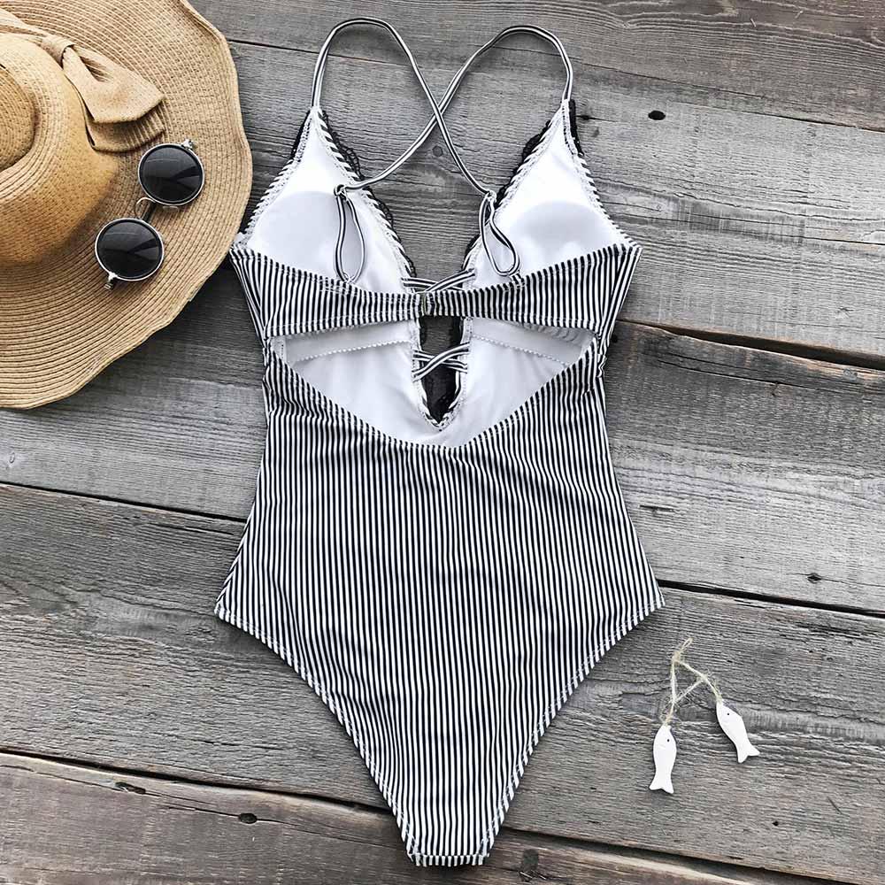 a00b0c7d6153e CUPSHE Wish You Well Lace One-piece Swimsuit Cutout Deep V neck Sexy  Bodysuit Monokini 2018 Ladies Beach Bathing Suit Swimwear