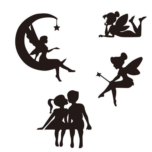 Beautiful Silhouette Cute Small Fairy Por Decal Black Silver Vinyl Artistic Style Car Sticker