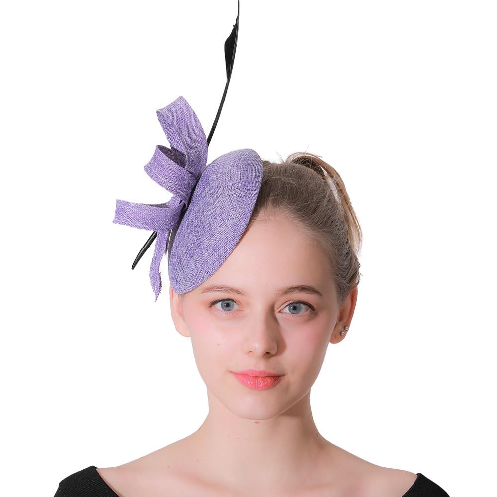 Fascinator Church hats Purple Fedora Hats For Women Feathers Fedoras Hair Clip Hat Panama Felt Winter  Trilby Femme Caps