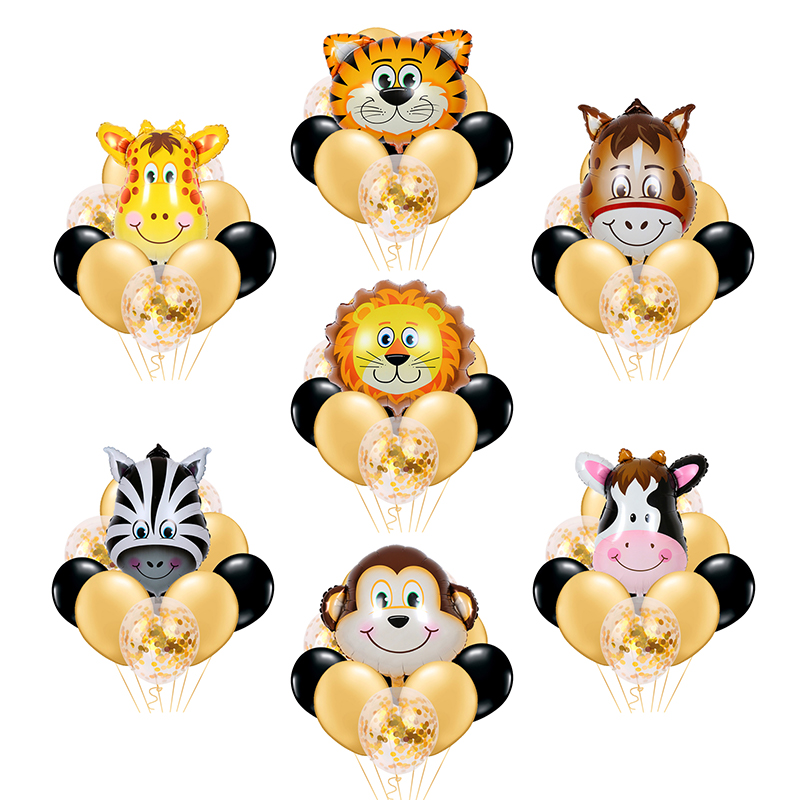 10 pcs New Animals Foil Balloons confetti Inflatable Air Balloon for Birthday Party Wedding Baby shower Supplies Children Toys image