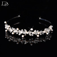 White Gold Plated Wedding Hair Accessories Bridal Crown Bohemia Design Jewelry For Women Pearl Unique String