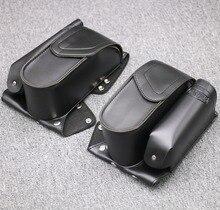 Motorcycle Leather Black Engine Bar Saddlebag Guard Bag Water Bottle Holder For Harley Touring FLHT FLHR