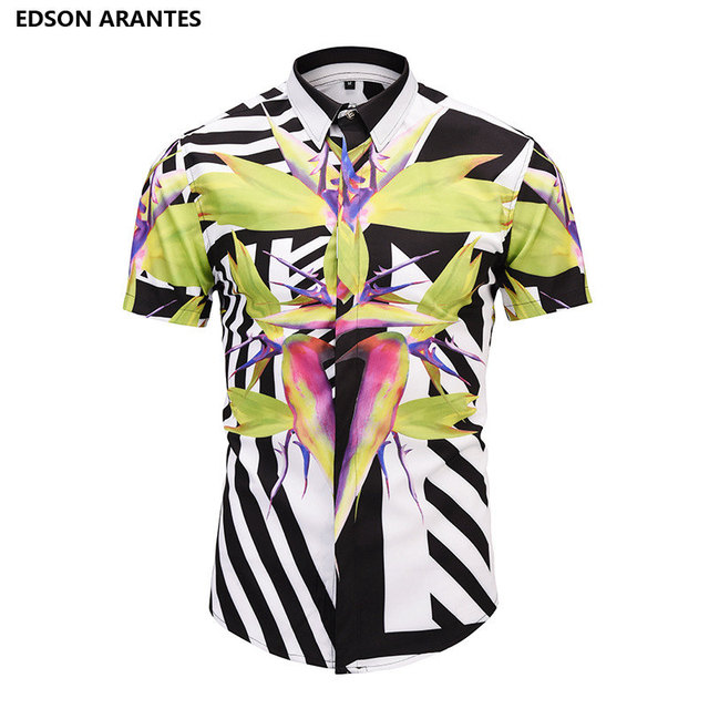 b02a89e51ca5 EDSON ARANTES Fashion Fancy Shirts Male Heaven Bird Flower Print Dress Shirts  Men Summer Casual Slim Fit Hawaiian Aloha Shirt