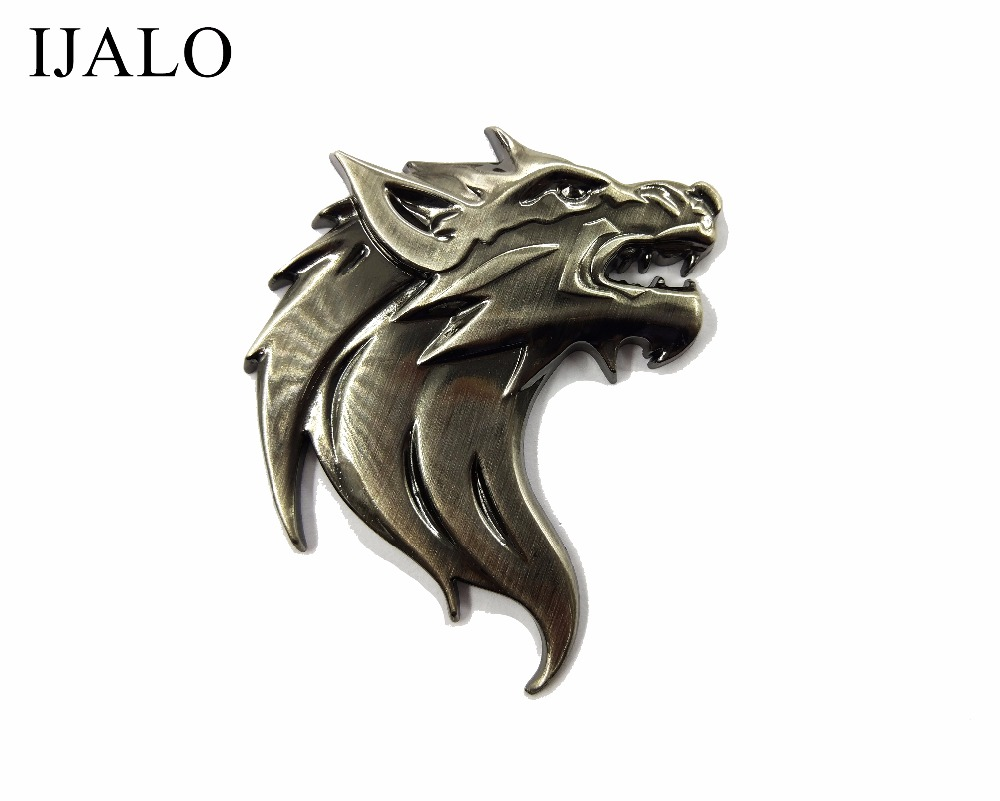 WOLF HEAD,Super Chromed Quality Metal Car Emblem with double side adhesive sticker Badge car styling emblem free shipping auto chrome camaro letters for 1968 1969 camaro emblem badge sticker