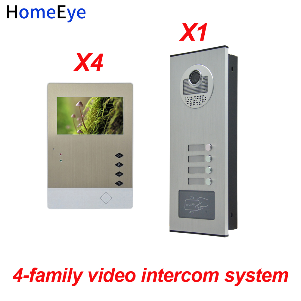 HomeEye 4 Families Door Bell Home Access Control System 4.3'' LTD 4-Wire Multi-family Multi Apartments Video Door Phone Intercom