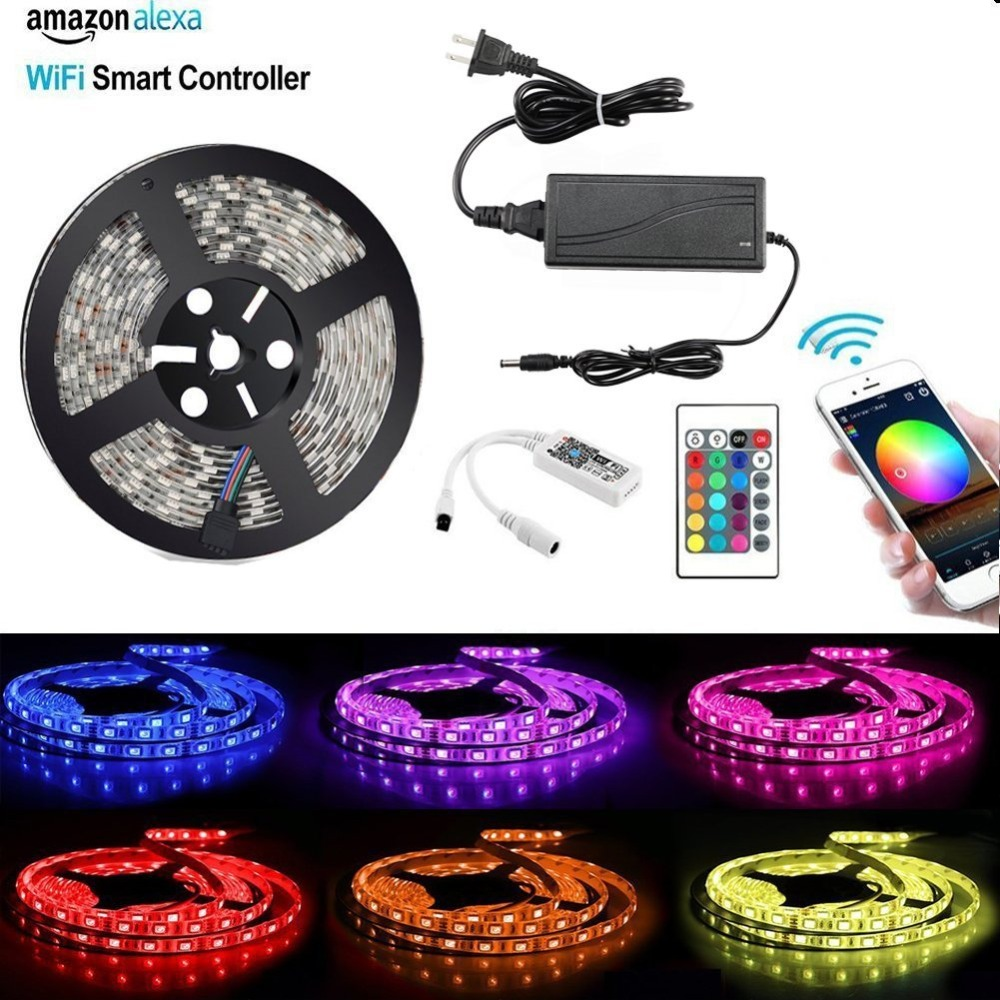WiFi LED Strip 5M 5050 DC 12V 300 LED RGB RGBW strip light Non-waterproof with WiFi Wireless Controller Alexa, Google and IFTTT led strip light wifi alexa compatible full kit smart phone controlled music 5050 rgb led strip work with google home android ios