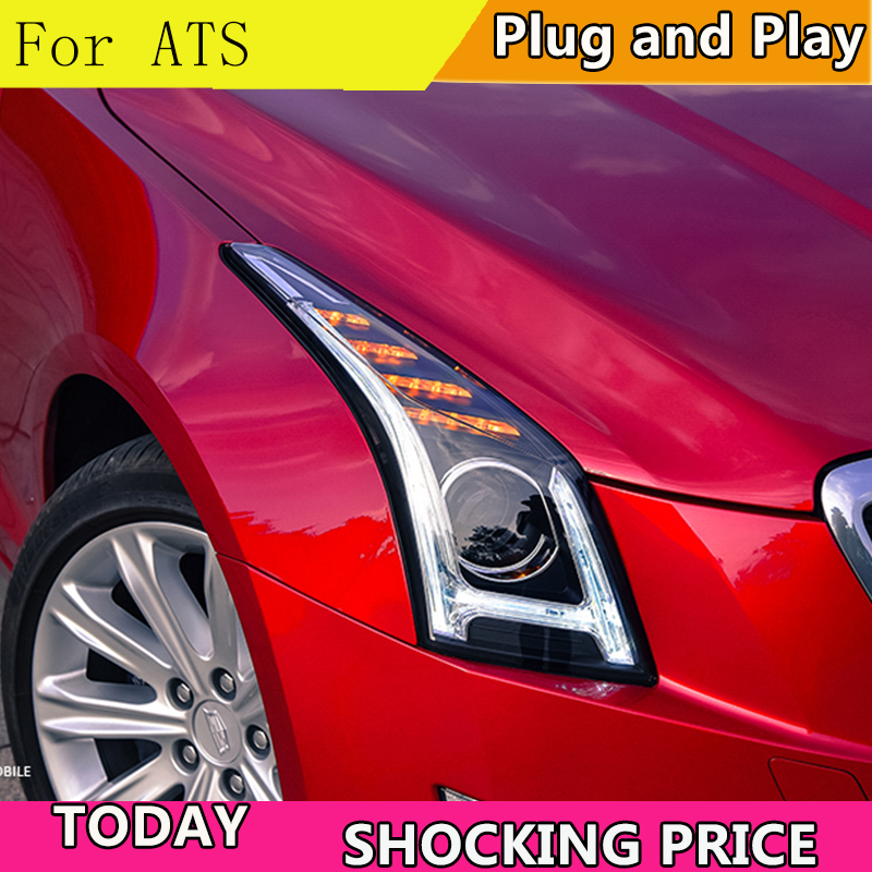 New car Styling for Cadillac ATS LED Headlight 2014 2018 For ATS ALL LED DRL head light Accessories hid kit led turn signal-in Car Light Assembly from Automobiles & Motorcycles    1