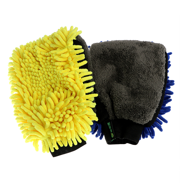 Microfiber Chenille Car Cleaning Wax Detailing Brush Car Wash Gloves 3 in 1  Multi-function Car-styling Auto Care 15b16f44253f