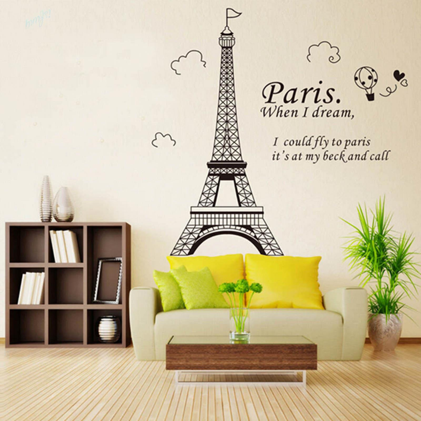 1x Paris Eiffel Tower Home Decor Decal Wall Sticker Pvc Removable