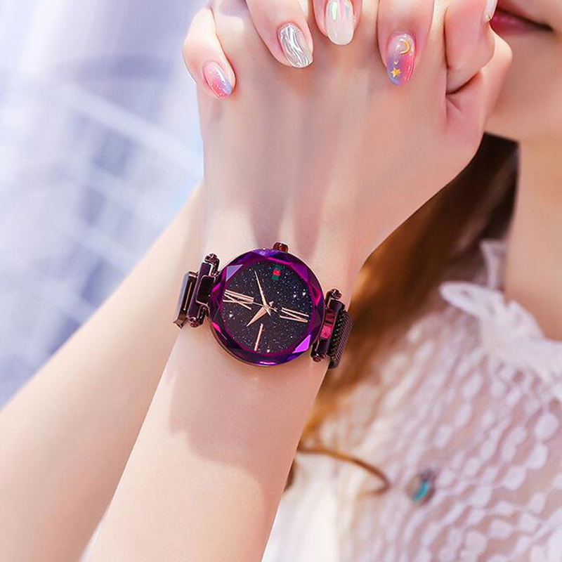 Luxury Purple Vibrato Ladies Watch Starry Sky Magnetic Watch Waterproof Female Wristwatch Gift relogio feminino montre femme501 in Women 39 s Watches from Watches