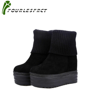 2017 Women Winter Boots Suede Warm Platform Snow Ankle Boots Women Casual Shoes Round Toe Female