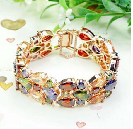 Emmaya Rose Gold Color Triplex Row Mona Lisa Multicolor Cubic Zircon Bracelets Bangles Luxury Wedding Bracelet Women Gift Party