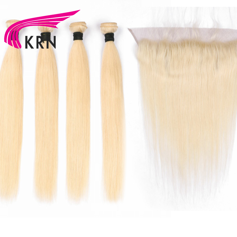 KRN 613 Color Straight Hair Wefts 4 Bundles With 13*4 Ear To Ear Lace Frontal Closure Remy Hair Brazilian Human Hair Extensions