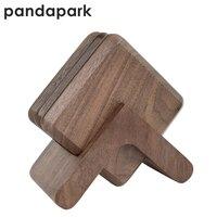 Pandapark الخشب الوقايات مجموعة من 6 كوب و 1 حفر جحر أسود الجوز والزان منصات العزل PPM005