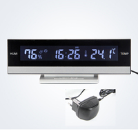 Always on Blacklight Blue Alarm clock Table & Desk 12/24 Hours Large Number Snooze Clock with Temperature Humidity Function