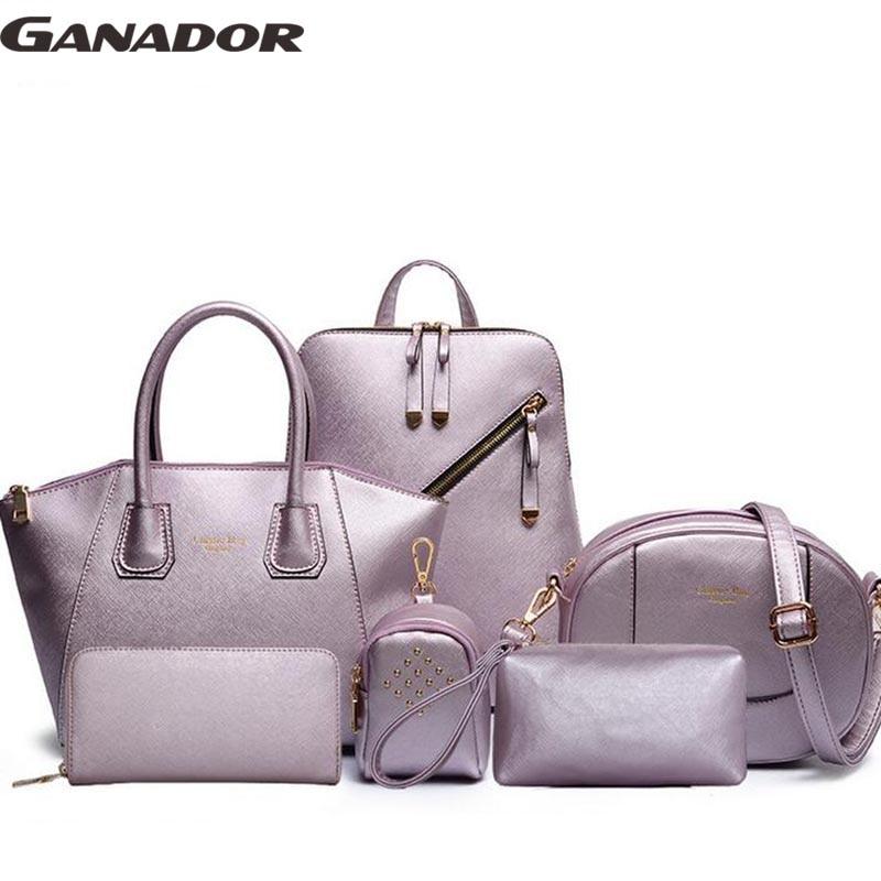 Ganador newest 2017 women handbags messenger bags women bags famous brand lady's leather handbag bolasa 6 bags a set LS6696