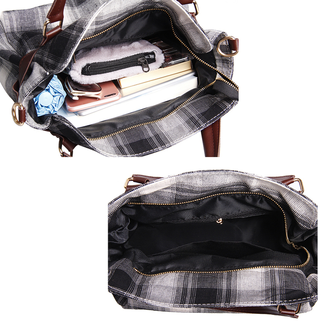Fashion Lock Canvas Crossbody Bags For Women Messenger Bags Patchwork Ladies Flap Bag High Quality Women Handbags 4